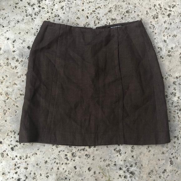 Dkny Dresses & Skirts - Vintage DKNY Brown Linen Mini Skirt with Pockets